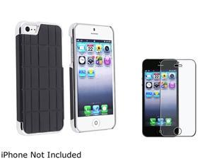 Insten Black Metal Vinyl Snap-on Case w/ Anti-Glare LCD Cover For iPhone 5 831874