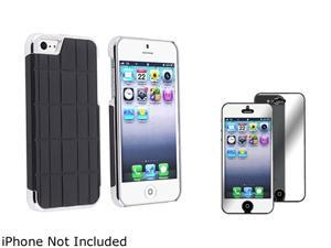 Insten Black Metal Vinyl Snap-on Case w/ Mirror Screen Protector For iPhone 5 831875