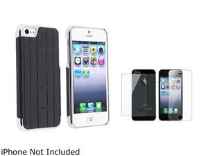 Insten Black Metal Vinyl Snap-on Case w/ Front & Back Reusable LCD Cover For iPhone 5 831878