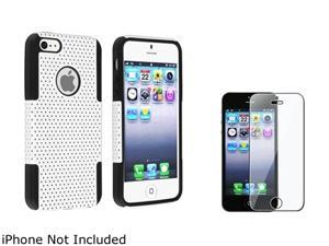 Insten Black / White Hybrid Meshed Silicone / Hard Plastic Case + Reusable Screen Protector For iPhone 5 831937