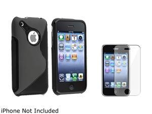 Insten Black S Shape TPU Gel Rubber Skin Case + Screen Protector Guard for iPhone 3G/3GS 905876