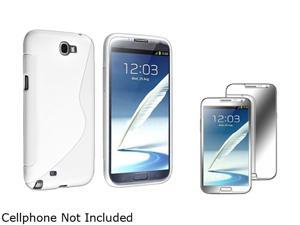 Insten White S Shape TPU Rubber Case + Mirror Screen Protector For Samsung Galaxy Note II N7100 920639