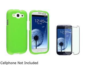 Insten Neon Green Rubber Coated Case + Colorful Diamond Screen Protector For Samsung Galaxy S3 920721