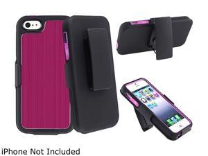 Insten Swivel Holster with Stand compatible with Apple iPhone 5 / 5S, Hot Pink Brushed Aluminum