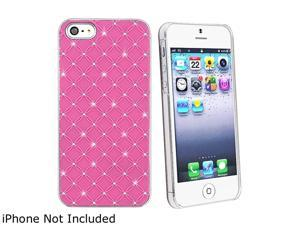 Insten Hot Pink Lattice Diamonds Snap-on Hard Plastic Case For iPhone 5 / 5S 800825