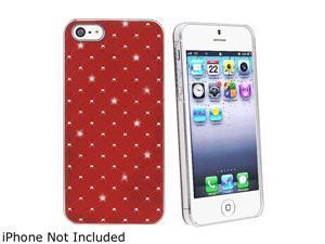 Insten Red Lattice Diamonds Snap-on Hard Plastic Case For iPhone 5 / 5S 800826