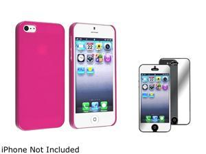 Insten Hot Pink Ice Cream Snap-On Case w/ Mirror Screen Protector For iPhone 5 755236