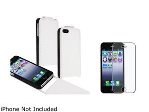 Insten White Snap-On Leather Case w/ Anti-Glare Screen Protector For iPhone 5 755432