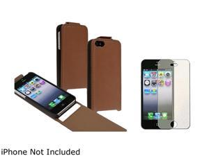 Insten Brown Snap-On Leather Case w/ Colorful Diamond Screen Protector For iPhone 5 755442