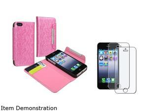 Insten Light Pink Wallet Card Holder Leather Case w/ 2 Pieces Anti-Glare Screen Protector For iPhone 5 755457