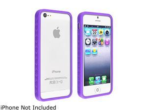 Insten Purple Bumper TPU rubber Case with Mirror Screen Protector Compatible with the NEW Apple iPhone 5