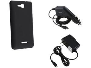 Insten 724049 Black Silicone Skin Case & Travel Charger & Car Charger For LG Lucid VS 840