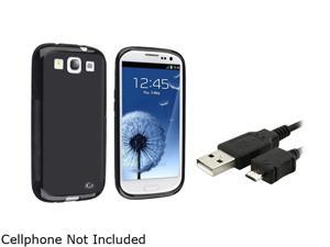 Insten Black TPU Rubber Case & Charging Data Cable For Samsung Galaxy S3 817884