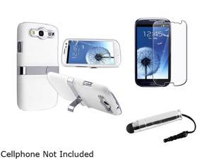 Insten White / Sliver Snap-on Rubber Coated Case w/ Stand & Screen Protector & Stylus For Samsung Galaxy S3 817859