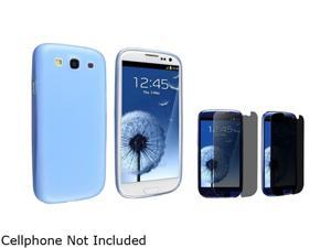Insten Clear Blue Slim Snap-on Case & Privacy Screen Protector For Samsung Galaxy S3 752179