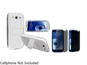 Insten Clear White S Shape TPU Rubber Skin Case w/ Stand & Privacy Screen Protector For Samsung Galaxy S3 752171