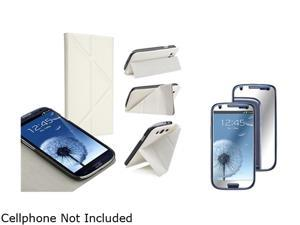 Insten White Leather Case w/ Foldable Stand & Mirror Screen Protector For Samsung Galaxy S3 752146