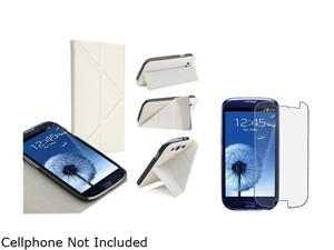 Insten White Leather Case w/ Foldable Stand & Anti-glare Screen Protector For Samsung Galaxy S3 752145