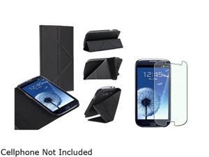 Insten Black Leather Case w/ Foldable Stand & Colorful Diamond Screen Protector For Samsung Galaxy S3 752135