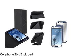Insten Black Leather Case w/ Foldable Stand & Mirror Screen Protector For Samsung Galaxy S3 752133