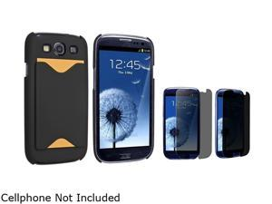 Insten Black Snap-on Rubber Coated Case w/ Card Holder & Privacy Screen Protector For Samsung Galaxy S3 752092