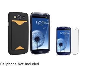 Insten Black Snap-on Rubber Coated Case w/ Card Holder & Anti-glare Screen Protector For Samsung Galaxy S3 752090