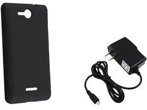 Insten Black Silicone Skin Case & Travel Charger For LG Lucid VS 840 724048