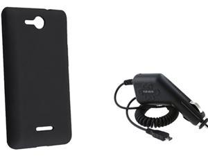 Insten Black Silicone Skin Case & Car Charger For LG Lucid VS 840 724047