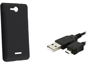 Insten Black Silicone Skin Case & Data Cable For LG Lucid VS 840 724046