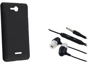 Insten Black Silicone Skin Case & Black Headset For LG Lucid VS 840 724044