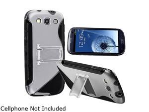 Insten Black TPU Rubber Skin Case w/ Stand for Samsung Galaxy S3 719445