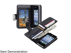 Insten Black Leather Case w/ Wallet for iPhone 4 / 4S 719362