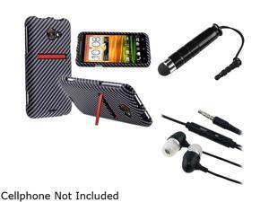 Insten Carbon Fiber Snap-on Rubber Coated Case & Stylus & Headset for HTC EVO 4G LTE 687202