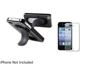 Insten Gray Snap-on Wrap Case w/ Stand & Colorful Diamond Screen Protector for iPhone 4 / 4S 683683