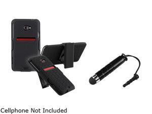 Insten Black Holster w/ Stand & Stylus for HTC EVO 4G LTE 678338