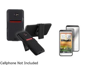 Insten Black Holster w/ Stand & Mirror Screen Protector for HTC EVO 4G LTE 678332