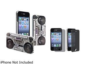 Insten Gray Old Player Snap-on Rubber Coated Case & Privacy Screen Protector For iPhone 4 / 4S 678284