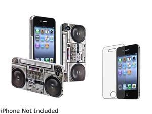 Insten Gray Old Player Snap-on Rubber Coated Case & Anti-Glare Screen Protector For iPhone 4 / 4S 678282