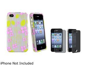 Insten Green Leaf / Pink Flower Snap-on Rubber Coated Case & Privacy Screen Protector For iPhone 4 / 4S 678278