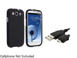 Insten Black Snap-on Rubber Coated Case & Data / Charging Cable For Samsung Galaxy S3 675029