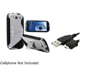 Insten Black TPU Rubber Skin Case w/ Stand & Data / Charging Cable For Samsung Galaxy S3 675022