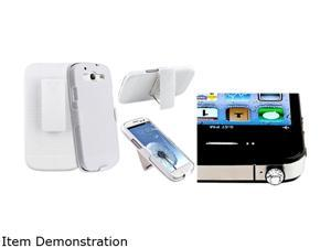 Insten White Holster w/ Stand & Headset Dust Cap For Samsung Galaxy S3 674997