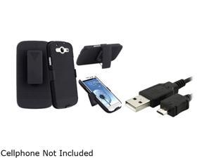 Insten Black Holster w/ Stand & Data / Charging Cable For Samsung Galaxy S3 674992