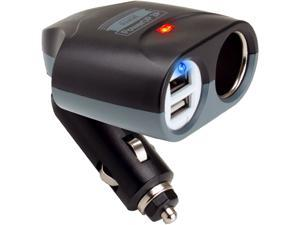 ReVIVE PowerUP Universal 3 Port Car Charger & Adapter with Dual USB Ports , DC Splitter & Portable Design