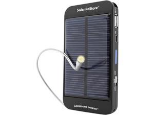 Portable Solar USB Charger Battery Pack with 2600 mAh Power Bank , 1.5A USB Output Charging Port & Compact Design by ReVIVE