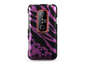 HTC EVO 3D Purple with Zebra and Star Design Crystal Case
