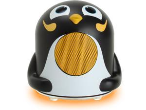 GOgroove Portable Penguin Speaker Night Light Lamp with Blue LED Base , Passive Woofer & 3.5mm AUX Cable Works with Smartphones , MP3 Players , Tablets & More