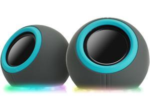 GOgroove SonaVERSE LYT Colorful Compact USB Computer Speakers with Color Changing LED Lights