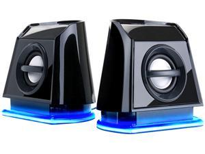 GOgroove BassPULSE 2MX USB Powered 2.0 Computer Speakers with Blue LED Accents