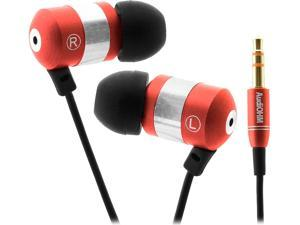 GOgroove AudiOHM Retro Red Earbud Style Headphones with Deep Bass and Interchangeable Noise Isolating Ergonomic Ear Gels (4 Sizes)